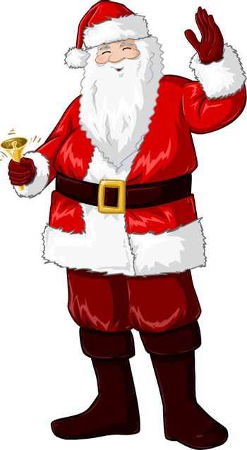 A vector illustration of Santa Claus smiling and ringing a bell and waving his hand for Christmas.