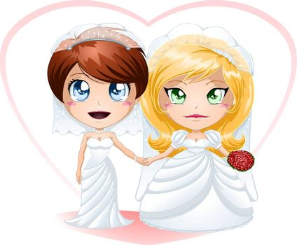 A vector illustration of lesbians dressed for their wedding day.