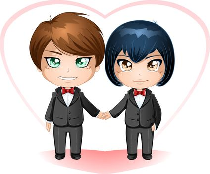 A vector illustration of gay men dressed in suits for their wedding day.