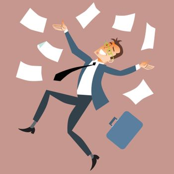 Businessman throws paper