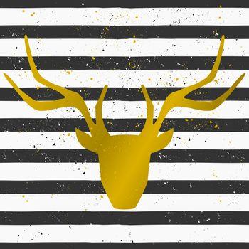 Golden Deer Head on Striped Background