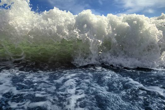 sea wave directly before us