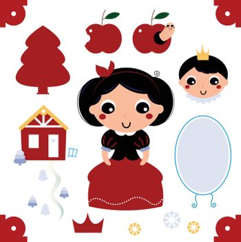 Beautiful and adorable snow white set. Vector cartoon illustration