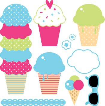 Beautiful ice cream collection in crazy colors. Vector Illustration