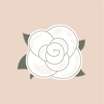 White vintage rose. Vector Illustration