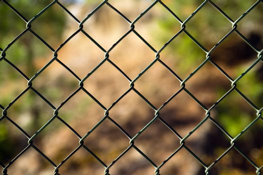 Diagonal Diamond Pattern Chain Link Fence Outside Boundary