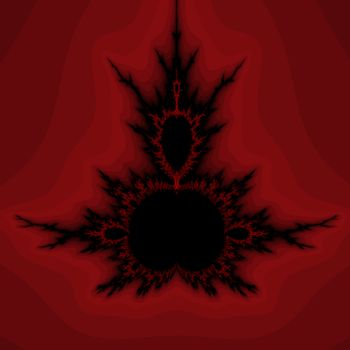 An abstract fractal design representing a valentine heart with black and several hues of red.