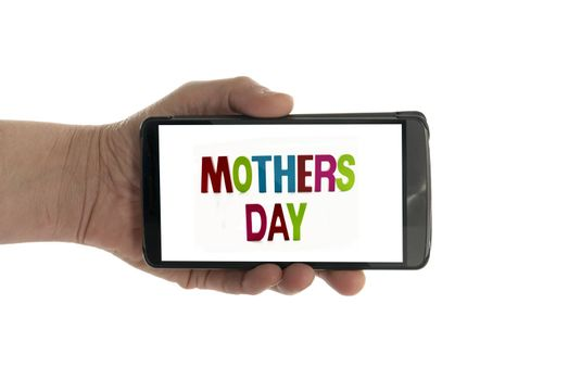female hand with mobile phone isolated on white with mothers day