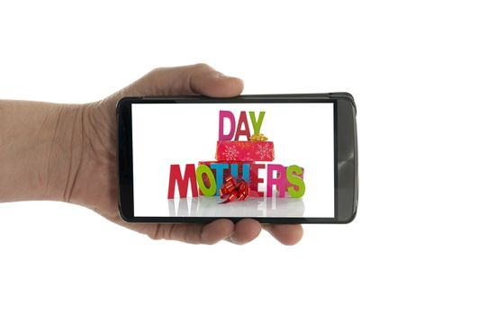 female hand with mobile phone isolated on white with mothers day text and presents