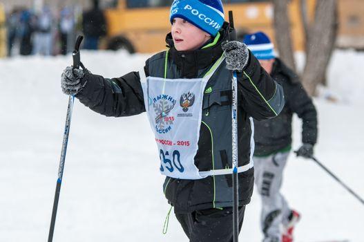 "ORENBURG, ORENBURG region, RUSSIA - 8 February 2015: Participant Cross-country skiing All-Russian mass competitions ""Ski track of Russia-2015"","