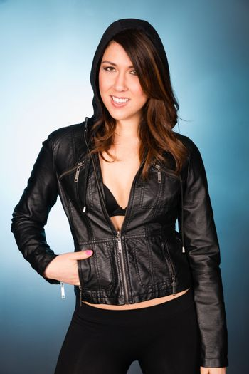Hip Smiling Young Adult Woman Wearing Leather Jacket Hooded Swea