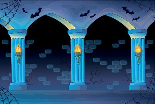 Haunted castle interior background