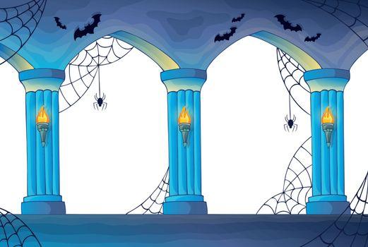 Haunted castle interior columns
