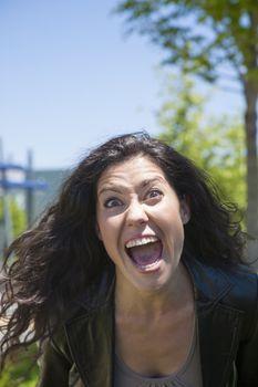 furious woman shouting you
