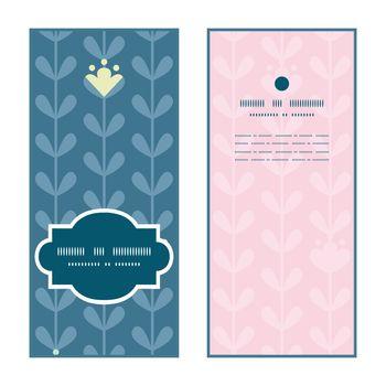 Vector blloming vines stripes vertical frame pattern invitation greeting cards set graphic design