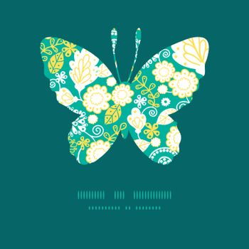 Vector emerald flowerals butterfly silhouette pattern frame graphic design