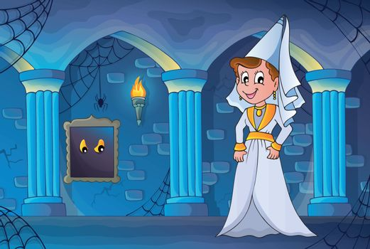Medieval lady in haunted castle