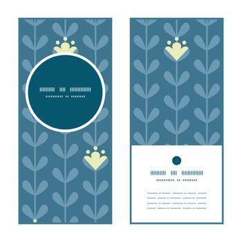 Vector blloming vines stripes vertical round frame pattern invitation greeting cards set graphic design