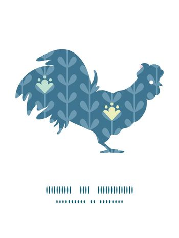 Vector blloming vines stripes rooster silhouette Easter frame graphic design