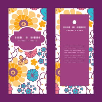 Vector colorful oriental flowers vertical frame pattern invitation greeting cards set graphic design