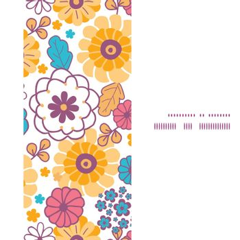 Vector colorful oriental flowers vertical frame seamless pattern background graphic design