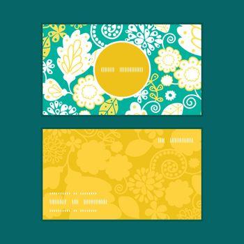 Vector emerald flowerals vertical round frame pattern business cards set graphic design