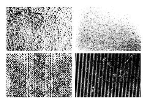 Set of isolated grunge textures design illustration. EPS10 vector file.