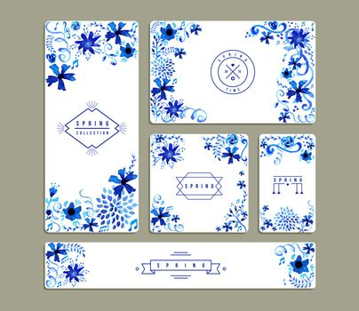 Vintage floral watercolor greeting card collections
