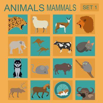 Animals mammals icon set. Vector flat style. Vector illustration