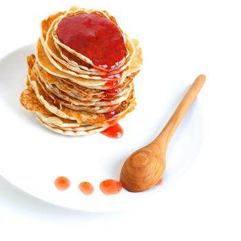Tasty pancakes with syrup