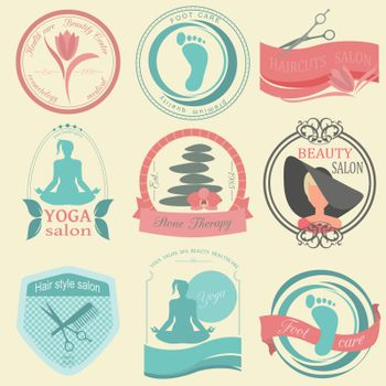 Set of vintage hairstyle, body care and cosmetology logos. Vecto