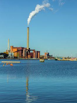Coal plant on the ocean shore