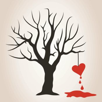 Blood drips from heart on a tree. A vector illustration
