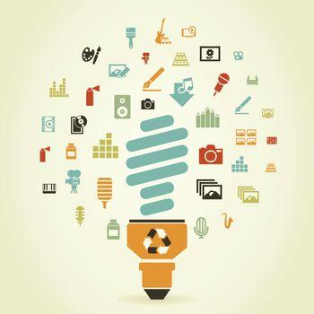 Art round a bulb. A vector illustration