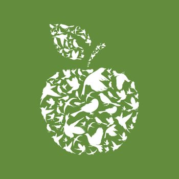 Apple made of birds. A vector illustration