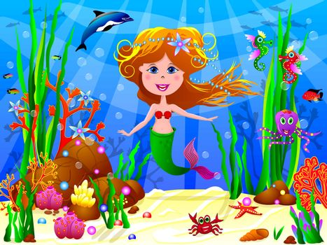 The Little Mermaid swims under water among sea creatures and underwater plants.