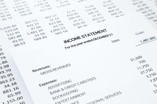 Income statement with detail list of revenues and expenses, accounting concept for small business, black and white tone image
