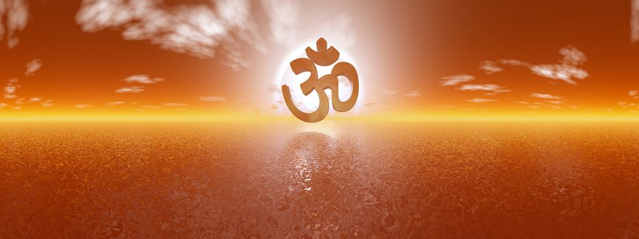 Aum symbol upon ocean by red sunset, 360 degrees effect - 3D render