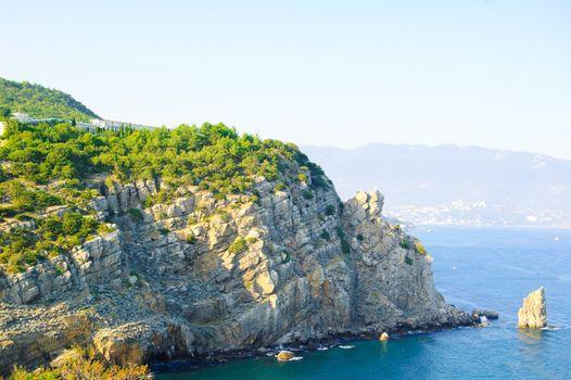 Summer Landscape with Rocky Coast. Crimea, Ukraine