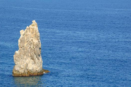 Summer Landscape with Sea and Rock. Southern Coast of Crimea, Ukraine