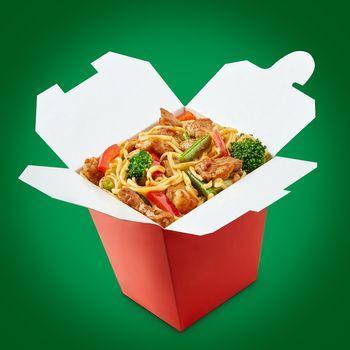 Perfect wok noodles box with chopsticks