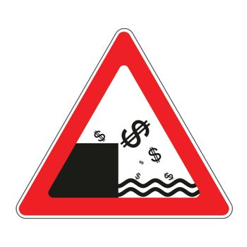 Illustration of road sign with concept of declining dollar currency
