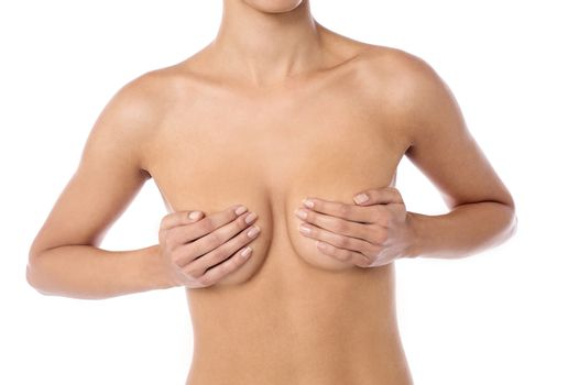 Bare chest of a young woman