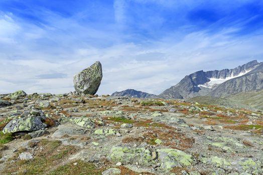 Lone standing rock at Besseggen Ridge