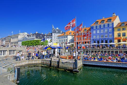 Nyhavn promenade in Copenhagen Denmark