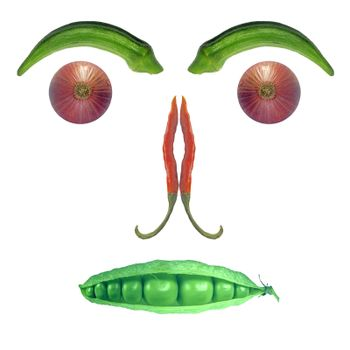 Face created with different vegetables