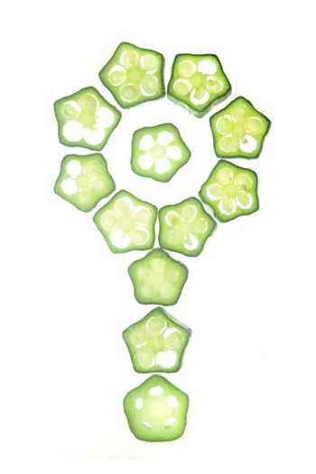 Cross section of Abelmoschus esculentus arranged in floral patte