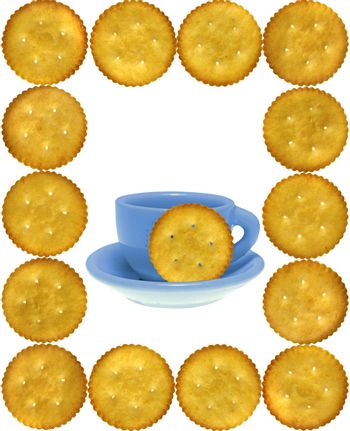 Frame of cookies, Crackers, Salty Biscuits with toy tea cup-sauc