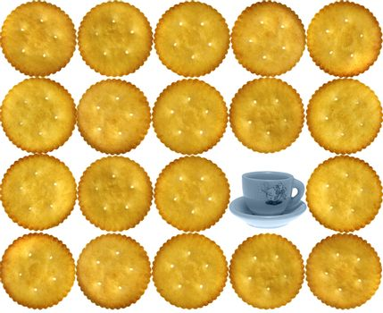 Crackers, Salty Biscuits with toy tea cup-saucer