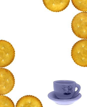 Empty template with Crackers, Salty Biscuits and toy tea cup-sau